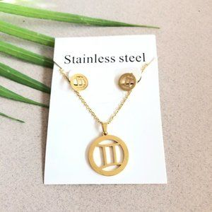 NEW Gemini Sign Stainless Steel Necklace Earring
